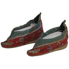 Tiny 19th Century Chinese Embroidered Womens Shoes