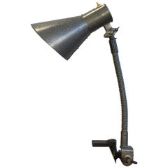 Vintage Industrial Grey Desk Lamp, 1960s