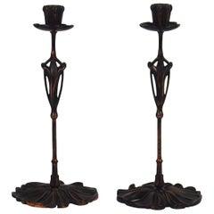"""Pair of """"Art Nouveau"""" Candlesticks by Georges de Feure"""