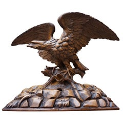 Antique Hand-Carved Black Forest Eagle, Spread Wings on Tree Trunk Sculpture