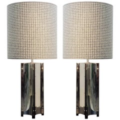 Pair of Large Table Lamps Chrome, New Houndstooth Lampshade