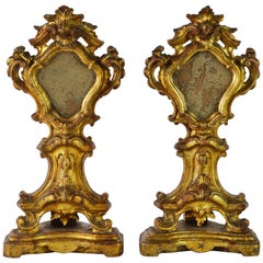 Pair of Mid-19th Century Italian Baroque Style Carved Giltwood Reliquaries