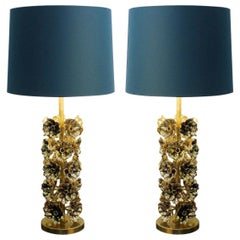 Pair of Flowers Table Lamps in Gilded Bronze, Italy
