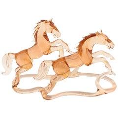 Two Jumping Horses Bimini Style Art Glass Sculpture Figure Mid-20th Century