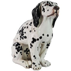Fetching Italian Midcentury Glazed Terracotta Figure of a Dalmatian Puppy