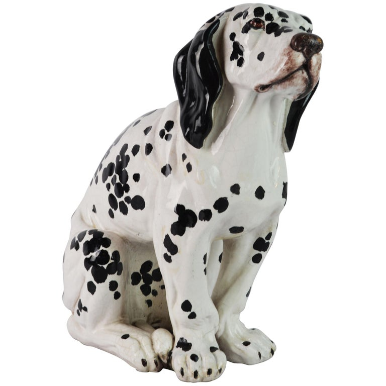 Fetching Italian Midcentury Glazed Terracotta Figure of a Dalmatian Puppy For Sale