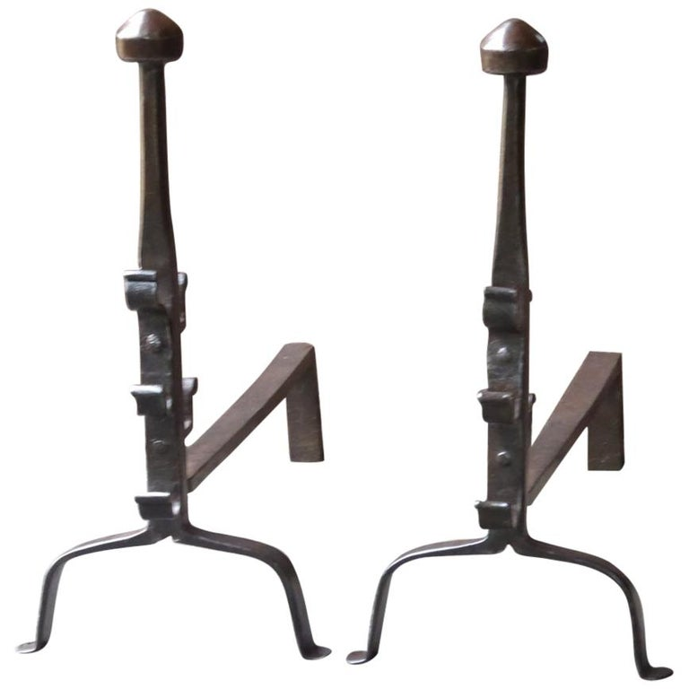 17th-18th Century French Gothic Andirons or Firedogs For Sale