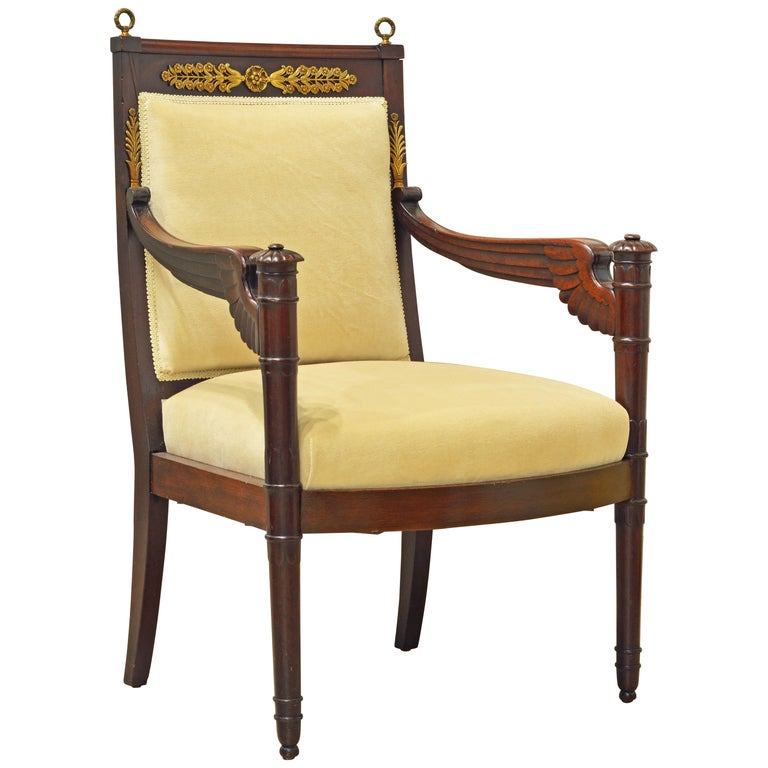 French Second Empire Eagle Wing Carved and Bronze Mounted Mahogany Armchair For Sale
