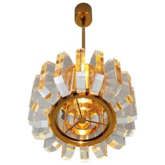German Regency Lucite or Plexiglas and Gold Plated Pendant Light, 1970s