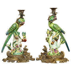 Pair of Chinoserie Ormolu Mounted Candlesticks