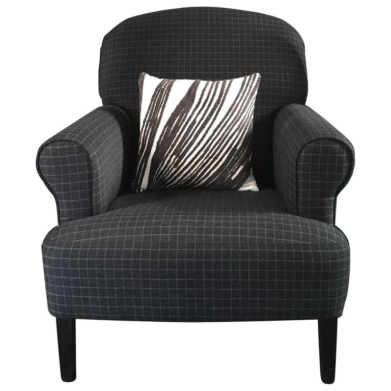 Modern Flamant Grey Wool Fabric Upholstered Armchair