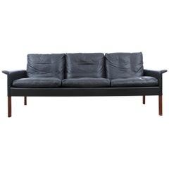 Mid Modern Danish Three-Seat Black Leather Sofa, Model 500 by Hans Olsen