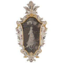 Continental '19th Century' Porcelain Keystone Shaped Wall Mirror