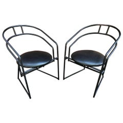 Pair of Matte Powder Coated Metal Side Chairs