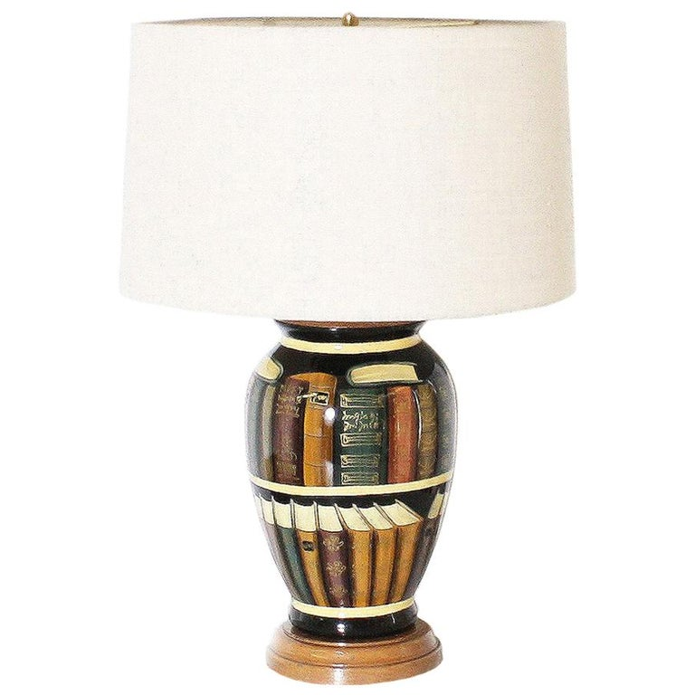 Ceramic Lamp with Library Book Detailing, circa 1960