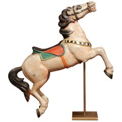 19th Century French Carved Painted Rampant Carousel Horse on Iron Stand