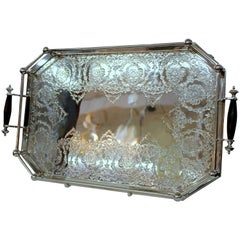 Old English Silverplate Chased Rail Style Gallery Tray, Hammond, Creake & Co.