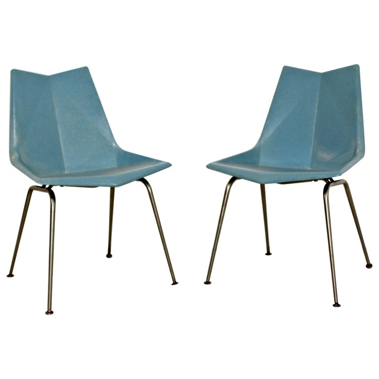 Mid-Century Modern Pair of Molded Fiberglass Origami Side Chairs by Paul McCobb