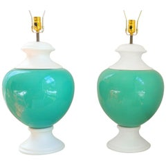 Pair of Turquoise Italian Lamps