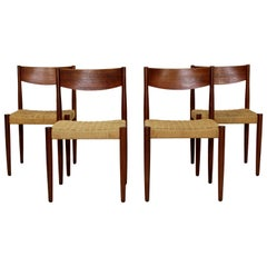 Mid-Century Modern Danish 4 Teak Cord Rope Dining Chairs Sigh & Sons Vodder Era