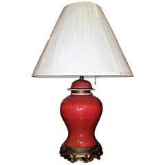 American Dedham Pottery Oxblood and Gilt Bronze Table Lamp Large