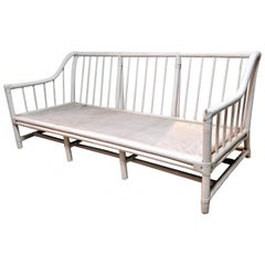 White Lacquer Painted Bamboo Sofa by Tommi Parzinger for Willow & Reed