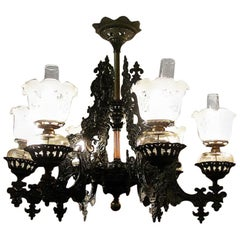 19century Bradley & Hubbard Cast Iron Six-Arm Chandelier