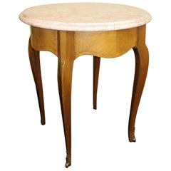 Round Marble Topped Satinwood Wine Occasional Table