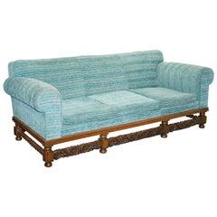 Period Original Edwardian Club Three to Four Seat Sofa Oak Frame Fully Sprung