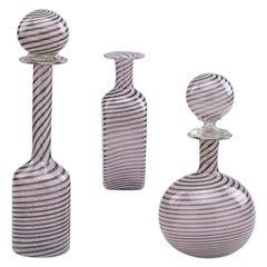 "Set of Three of ""Filigrana"" Bottles Attributed to Aureliano Toso"