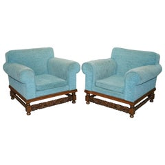 Pair of Edwardian Club Armchairs Oak Frame Fully Sprung Restoration Reupholstery