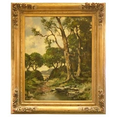 Ernest Lawson Plein Air New York Painting of Wooded Landscape, Pond and Figures
