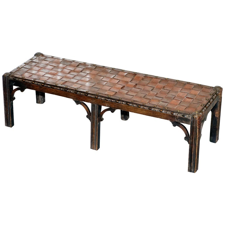 Small Early 19th Century Leather Woven Bench Style Footstool Hand-Carved Wood For Sale