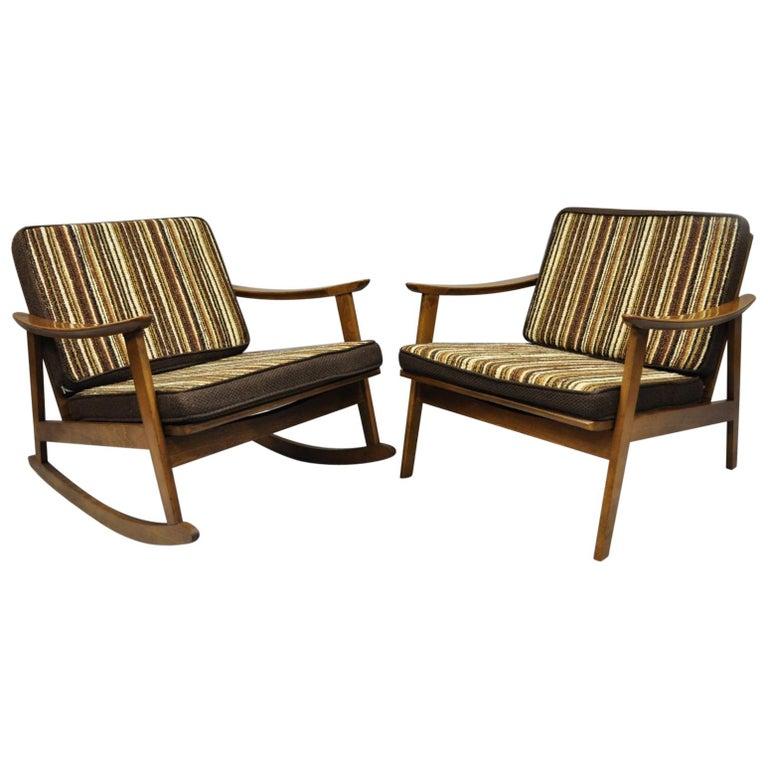 Mid-Century Modern Danish Style Armchair Lounge Chair Rocking Chair, Pair