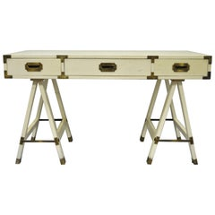Vintage Bernhardt Campaign Style Sawhorse Base Writing Desk Brass Hardware