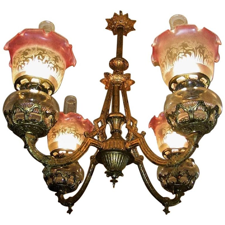 19th Century Pair of Bradley and Hubbard Gold Leaf Four-Arm Chandeliers