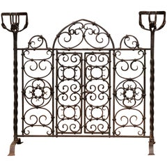 19th Century French Forged Iron Double Door Fireplace Screen with Bowl Holders