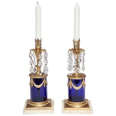 Pair of French Neoclassical Cobalt Glass and Gilt Bronze Candlesticks