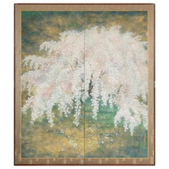 Japanese Two-Panel Screen, Weeping Cherry Blossoms at Night