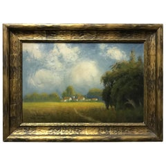James Everett Stuart Bucolic Oil Landscape Painting of Sacramento Valley, 1921