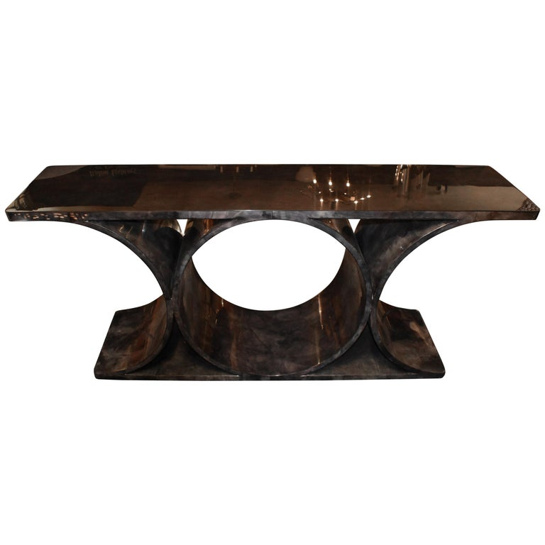 Lacquered Parchment or Goatskin Console Table For Sale