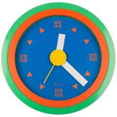 Memphis Wall Clock, Orange, Blue by Du Pasquier and Sowden x Neos, Italy, 1980s