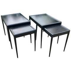 Pair of Mid Century Black Nesting Tables by T.H. Robsjohn-Gibbings for Widdicomb