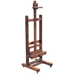 Large English Artist's Display or Floor Easel with Adjustable Tray and Crank