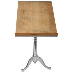 Vintage American Cast Iron Base Drafting Table