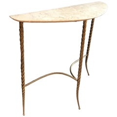 Console Table with Marble Top and Brass Legs, Italy 1940s