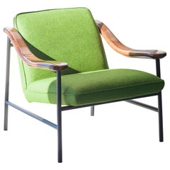 Henry Russell Yellow Green Lounge Chair Stainless Steel Frame Walnut Armrests