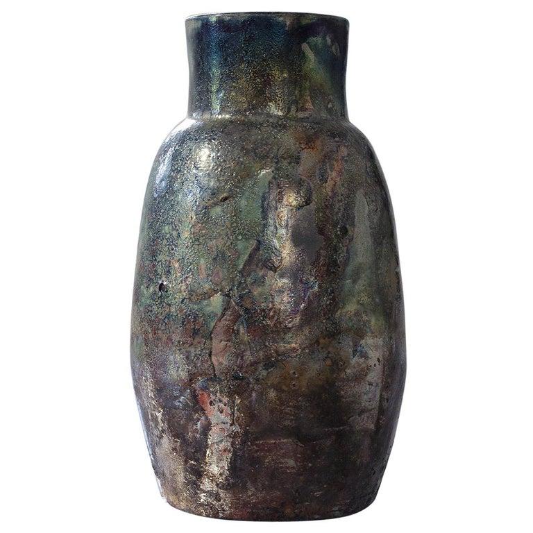 Contemporary Raku Ceramic Vase For Sale