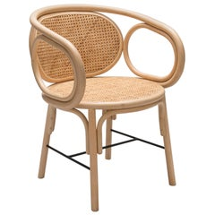 O Dining Chair Set, Contemporary Rattan Dining or Desk Chair in Cane Sturcture
