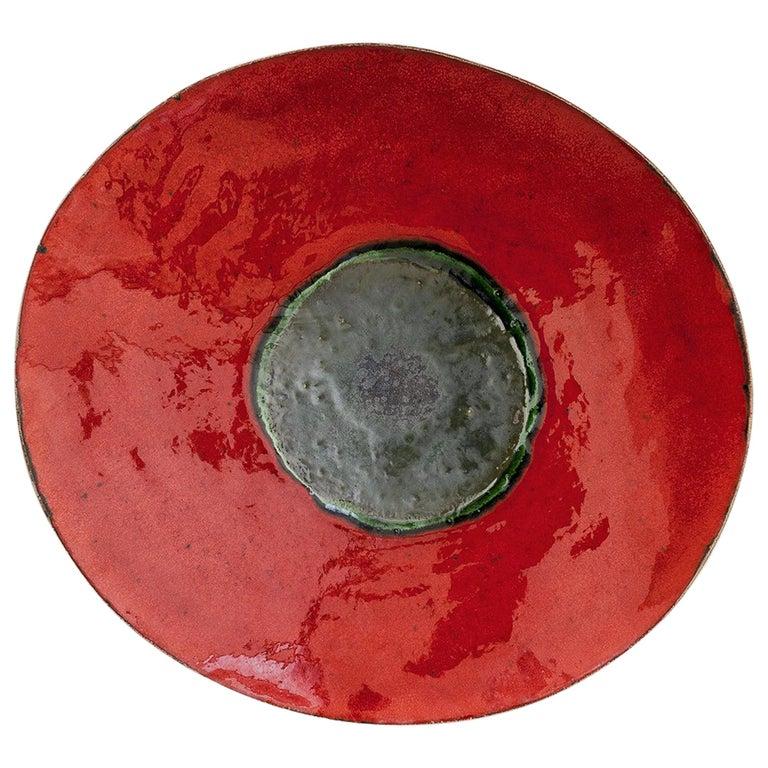 Red Contemporary Ceramic Decorative Plate